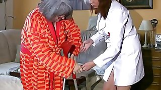 BBW chubby Nurse masturbate with elderly Granny